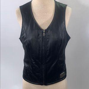 Harley Davidson size M women's black leather vest